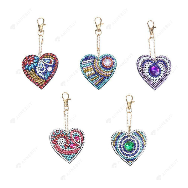DIY Diamond Painting Keychain-5pcs/set  Full Drill Love Heart DIY Crystal Rhinestone Key Ring Gift