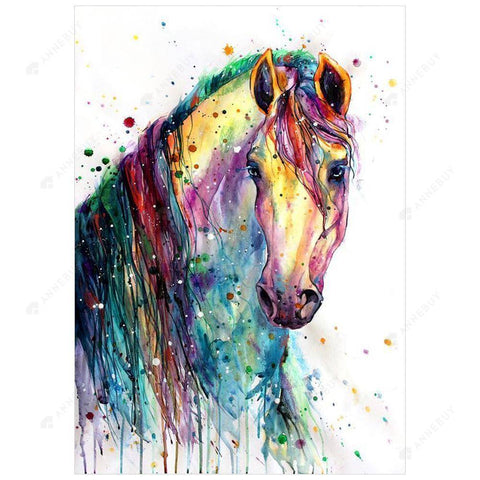 Diamond Painting-DIY Full Round Drill Colorful Horse
