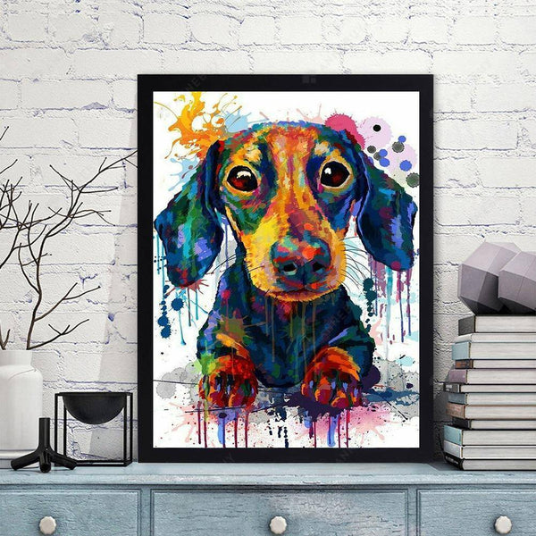 Diamond Painting-DIY Full Drill Round Beads Colorful Dog