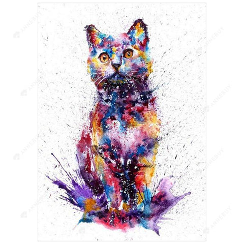 Diamond Painting-DIY Full Drill Round Beads Colorful Cat