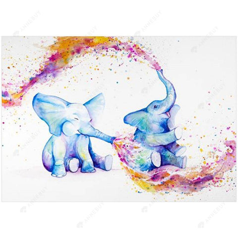 Diamond Painting-DIY Full Round Drill Colorful Elephant