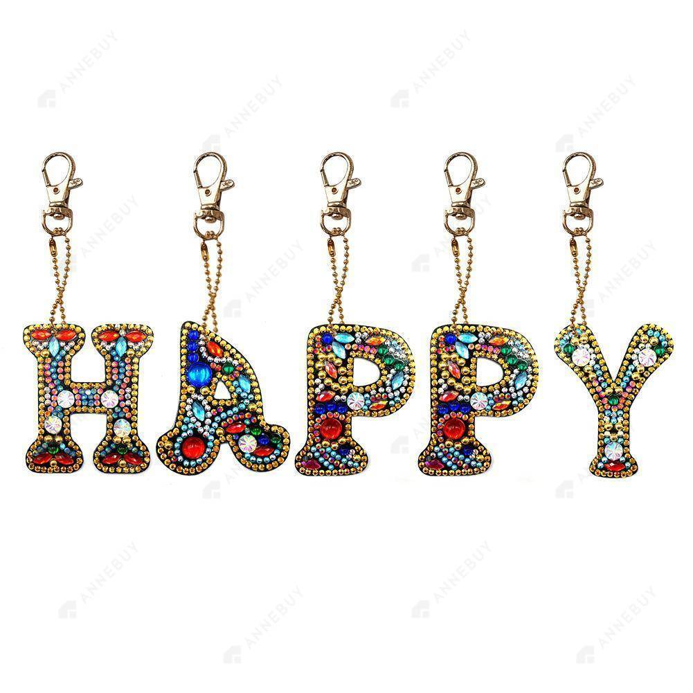 DIY Diamond Painting Keychain -Full Drill Happy DIY Crystal Rhinestone Keychain Gift