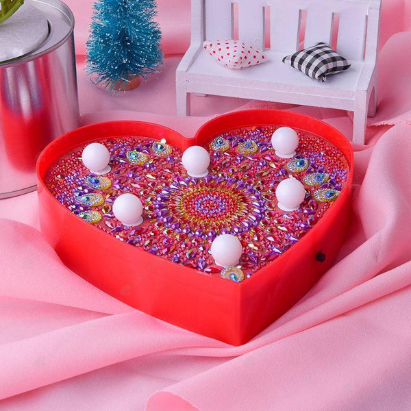DIY Diamond Painting LED Lamp -Crystal Rhinestone Mandara Heart -shaped Light
