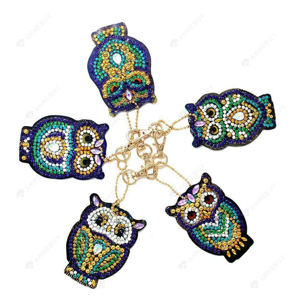 DIY Diamond Painting Keychain -5pcs/set Cartoon Owl Bag Pendant