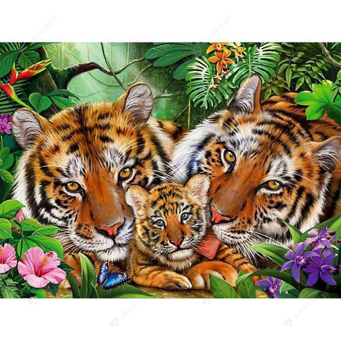 Diamond Painting -DIY Full Round Drill Tiger Family