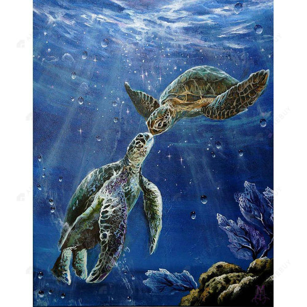 Diamond Painting -DIY Full Round Drill Kissing Sea Turtle