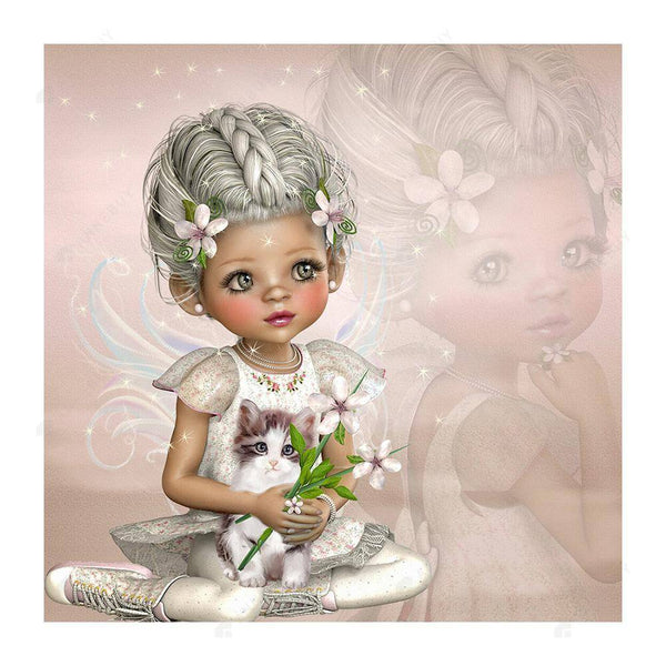 Diamond Painting -DIY Full Round Drill Gray hair little girl