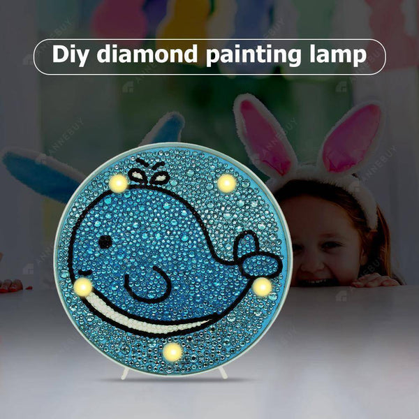 DIY Diamond Painting LED Lamp Full Drill Rhinestones Whale Kid Room Decor