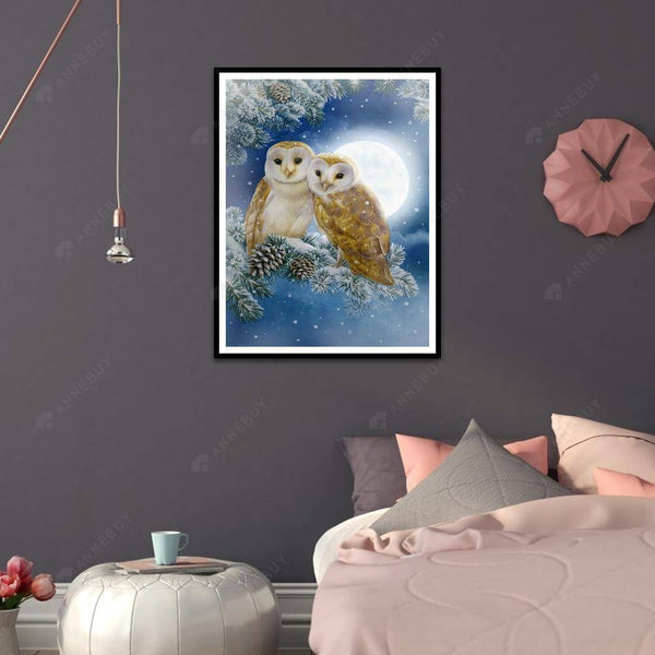 Diamond Painting -DIY Full Square Drill Owl in Moon Night