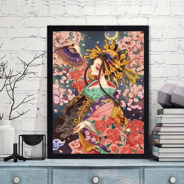 Diamond Painting -DIY Full Round Drill Woman Wearing a Kimono
