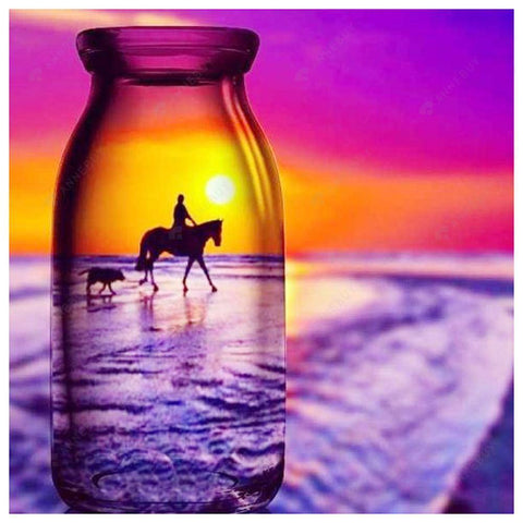 Diamond Painting-DIY Full Round Drill Teenager Riding a Horse in a Bottle
