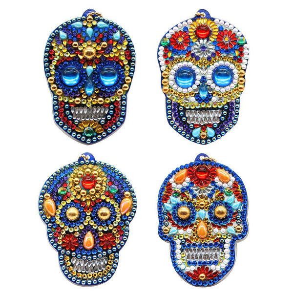 4pcs DIY Diamond Painting Keychain Special -shaped Full Drill Skull Ornament