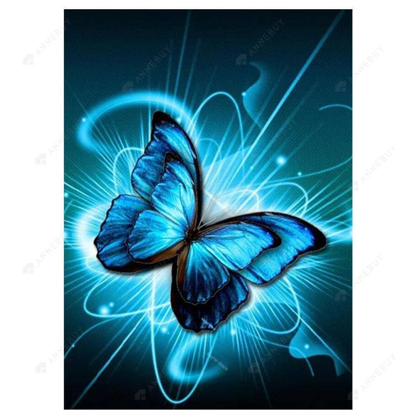 Diamond Painting -DIY Full Round Drill Blue Butterfly