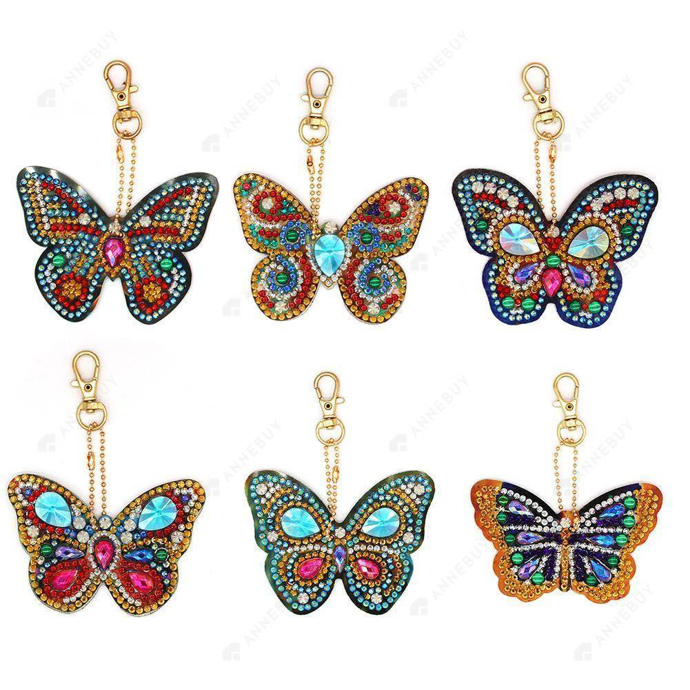 DIY Diamond Painting Keychain -Partial Crystal Rhinestones 6pcs/set Beautiful Butterfly