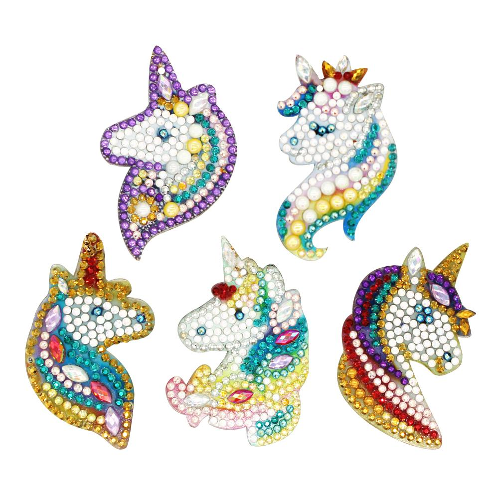 5pcs DIY Special Shaped Full Drill Diamond Painting Keychain Horse