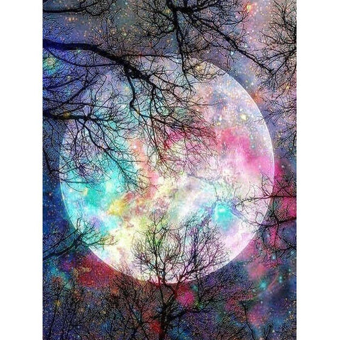 Diamond Painting-5D Full Square Drill Colorful Moon