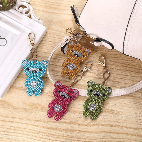 4pcs DIY Bear Full Drill Special Shaped Diamond Painting Keychains Pendant