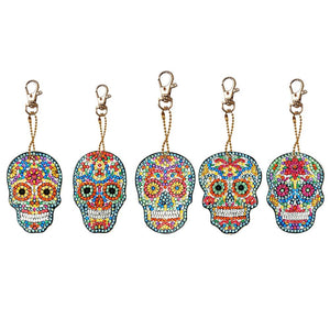 5pcs DIY Full Drill Special Shaped Diamond Painting Skull Keychains