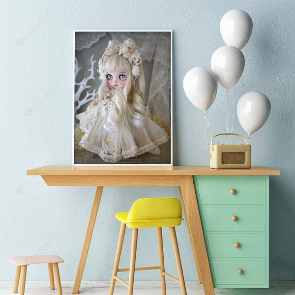 Diamond Painting -Full Round Drill Beautiful White Doll
