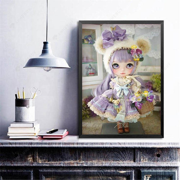 Diamond Painting -Full Round Drill Girl Doll In Purple
