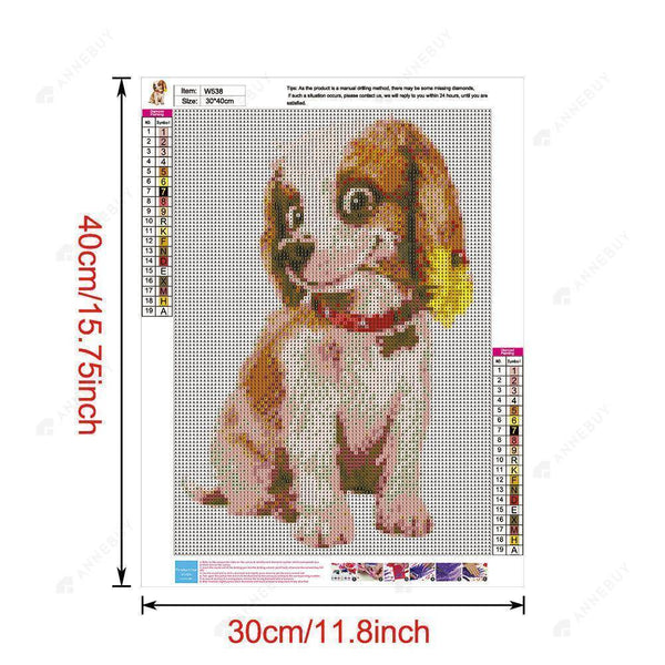 Diamond Painting -Full Round Drill Funny Puppy
