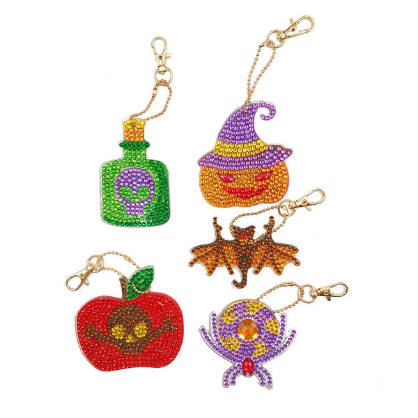 5pcs DIY Diamond Keychain Special Full Drill Painting Halloween Keychian