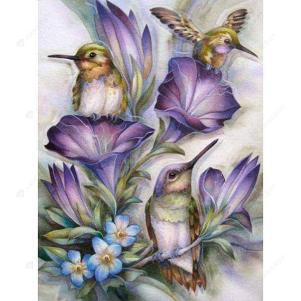 Diamond Painting-5D Full Round Drill Flowers and Birds