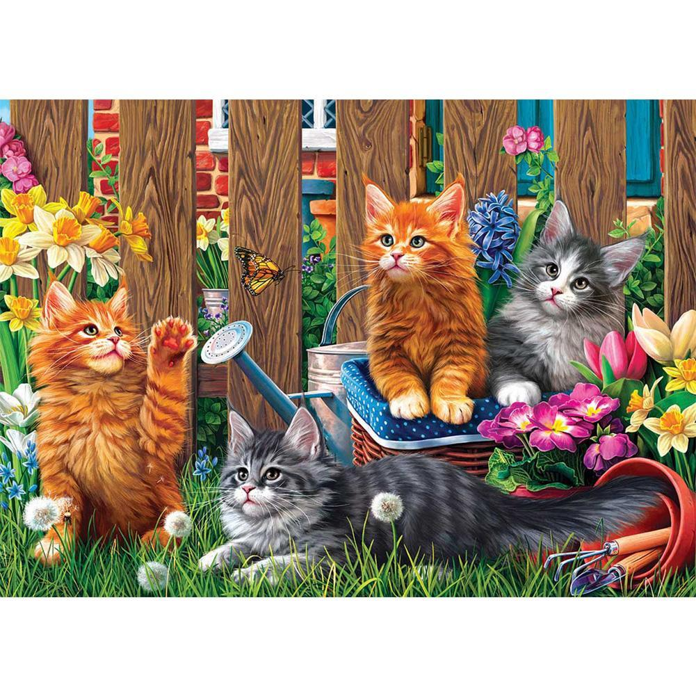 Diamond Painting -Full Square Drill Cat in  Garden
