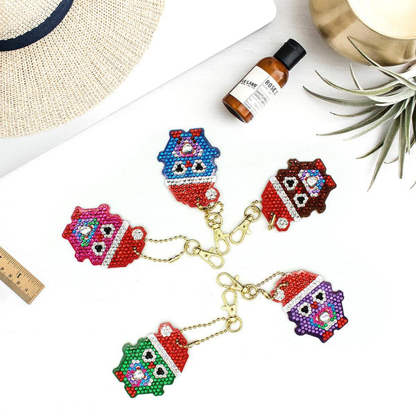 5pcs DIY Full Drill Diamond Painting Special -shaped Xmas Penguin Key Chains