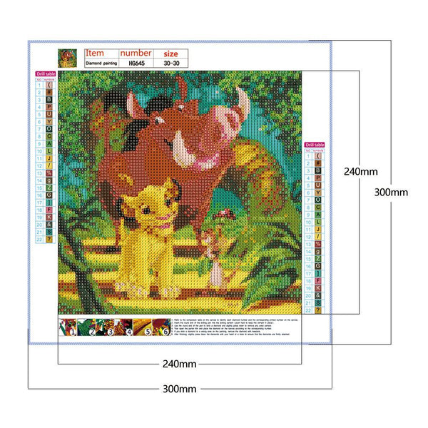 Diamond Painting-5D Full Round Drill Lion king