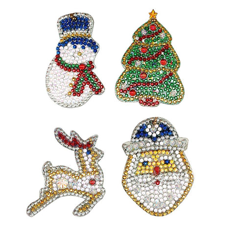 4pcs DIY Full Drill Special Shaped Christmas Diamond Painting Key Chain