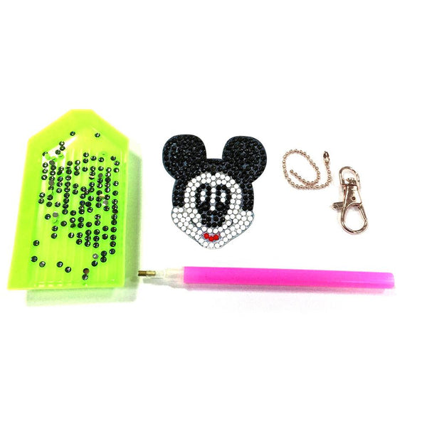 4pcs DIY Full Drill Round Drill Mouse Shape Diamond Painting Keychain