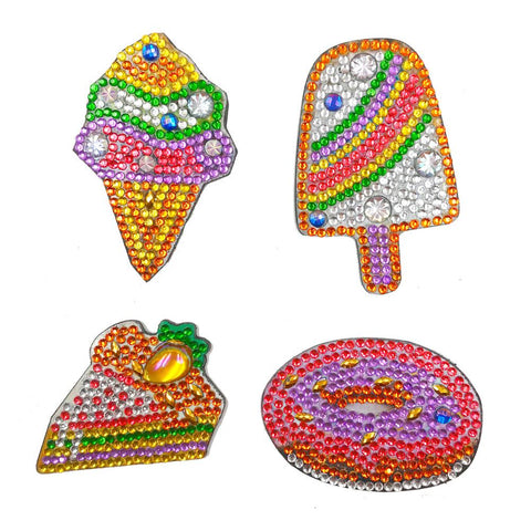 4pcs DIY Full Drill Special Shape Ice Cream Diamond Painting Fridge Magnet