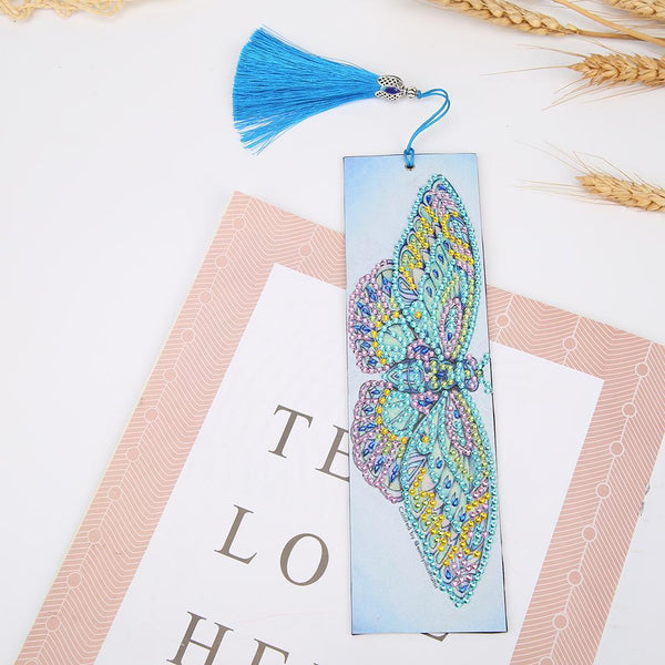 DIY Butterfly Special Shaped Diamond Painting Leather Bookmark with Tassel