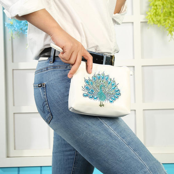 DIY Peafowl Special Shaped Diamond Painting Leather Chain Crossbody Bags