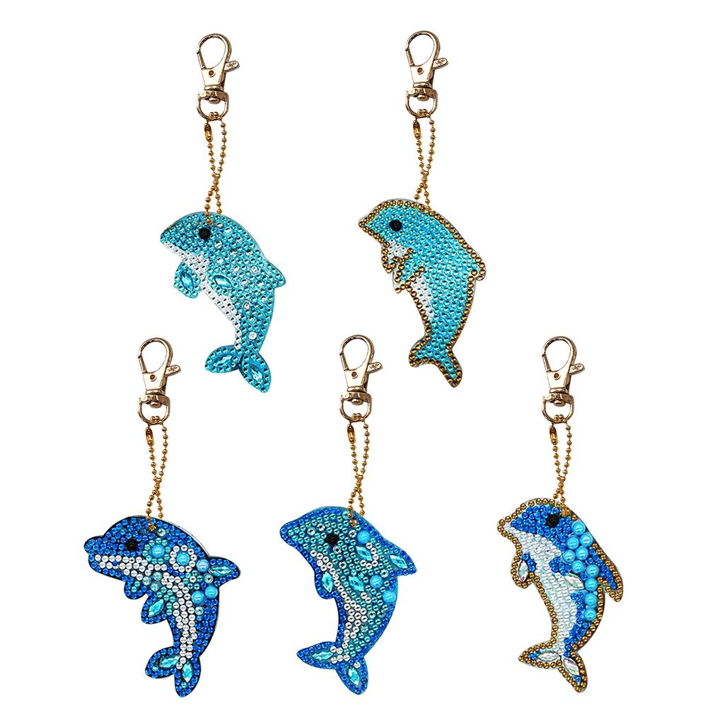 5pcs Dolphin Shape Key Chains DIY Diamond Painting Special Shape Full Drill