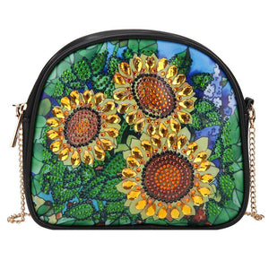 DIY Sunflower Special Shaped Diamond Painting Leather Chain Shoulder Bags