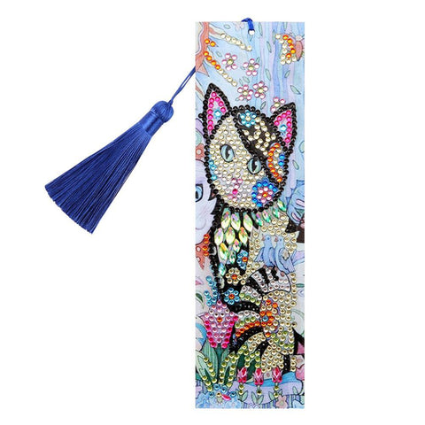DIY Cat Special Shaped Diamond Painting Leather Bookmarks with Tassel Gifts
