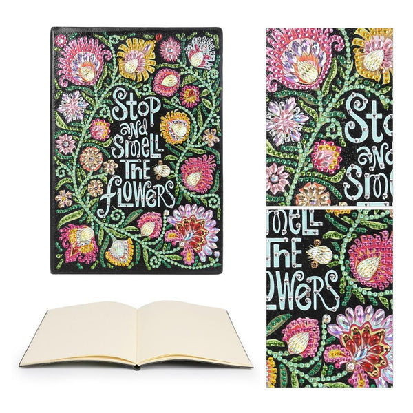 DIY Crystal Rhinestones Diamond Painting Gorgeous Flower Notebook