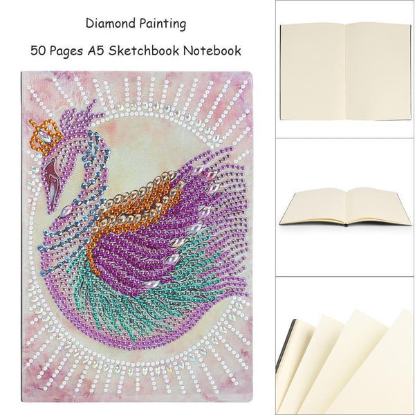 DIY Crystal Rhinestones Diamond Painting Swan Notebook
