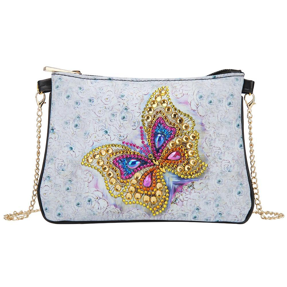 DIY Butterfly Special Shaped Diamond Painting Leather Chain Crossbody Bags