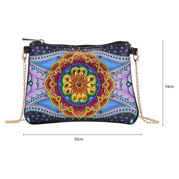 DIY Flower Special Shape Diamond Painting Leather Chain Shoulder Bag Clutch