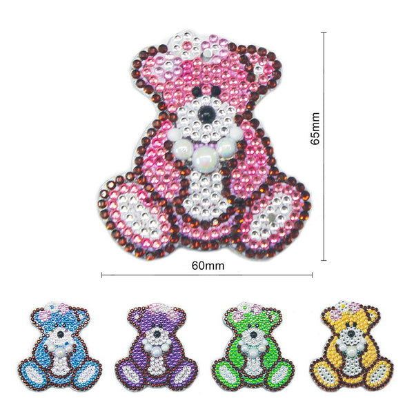 5pcs DIY Full Drill Special Shaped Diamond Painting Bear Keychain Ornaments