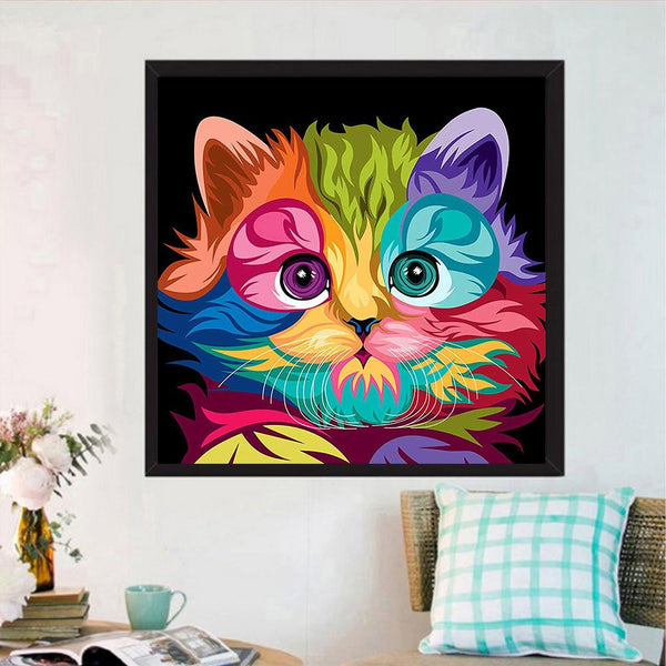Diamond Painting -Full Round Drill Colorful Cat