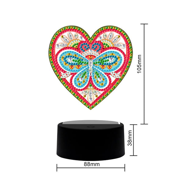 DIY Diamond Painting LED Light Love Heart Embroidery Night Lamp Home Decor
