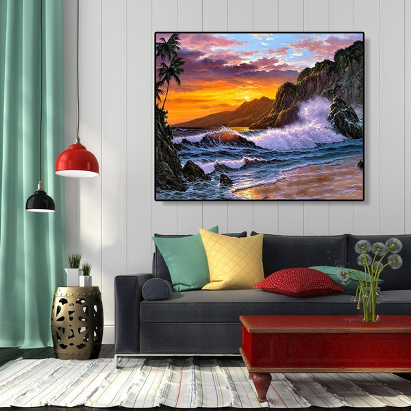 Paint By Numbers-DIY Seaside Sunset(40*50 CM)