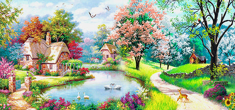 Diamond Painting-DIY Full Round Drill Beautiful Cottage(50*100 cm)