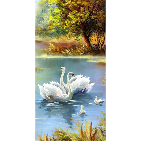 Diamond Painting-DIY Full Round Drill Swan Lake(85x45cm)