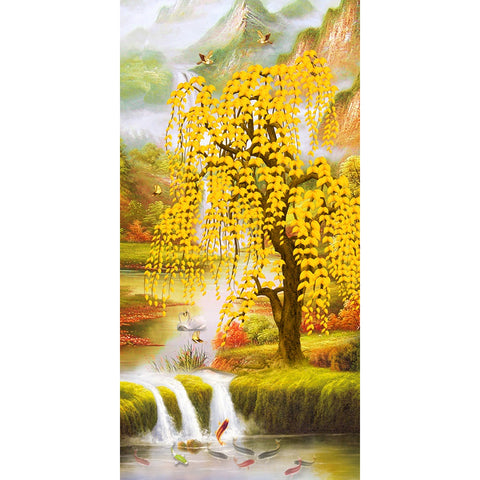 Diamond Painting-5D Full Round Drill River and Tree(45X85cm)