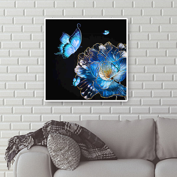 Diamond Painting-DIY Full Round Drill  Flower and Butterfly (40*40 cm)